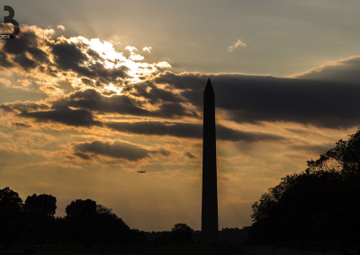 Couché de soleil devant le Washington Monument